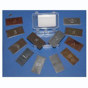 Metal test kit 12 pieces stamped 50x25mm