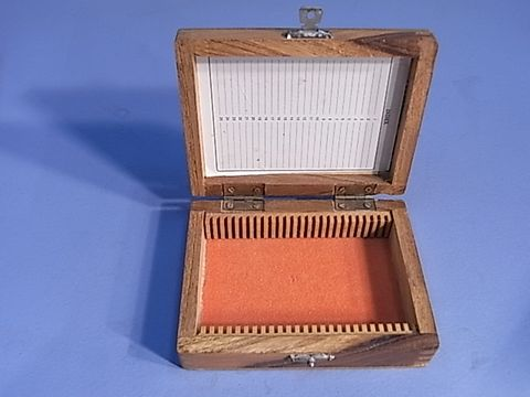 Microscope slide box Wood 25 place