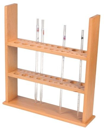 Pipette stand wooden holds 24 pipettes