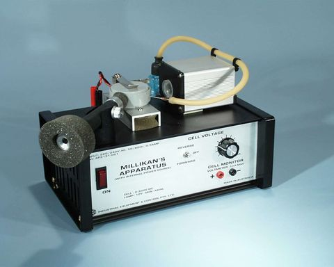 Millikans apparatus with power supply