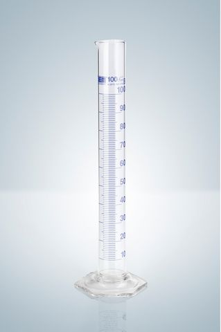 Cylinder measuring glass 100ml blue grad