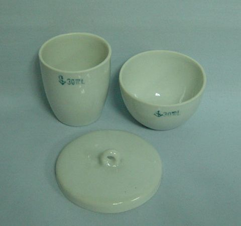 Crucible porcelain low form 45ml w/lid