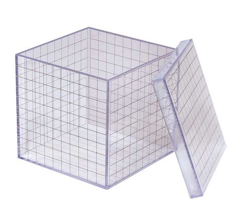 3D Grid cube 1 cm grid with lid