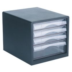 File storage 4 drawer black/clear