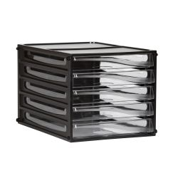 File storage 5 drawer black/clear