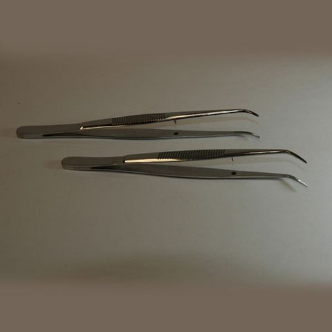 Forceps microscopic angled 150mm