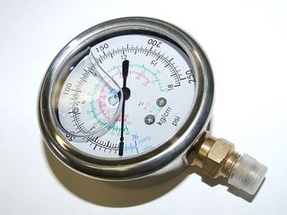 SILVER COMPOUND OIL FILLED GAUGE R134A