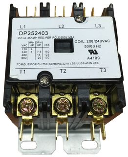 DP252403 3 POLE CONTACTOR 35A 25FLA 240V