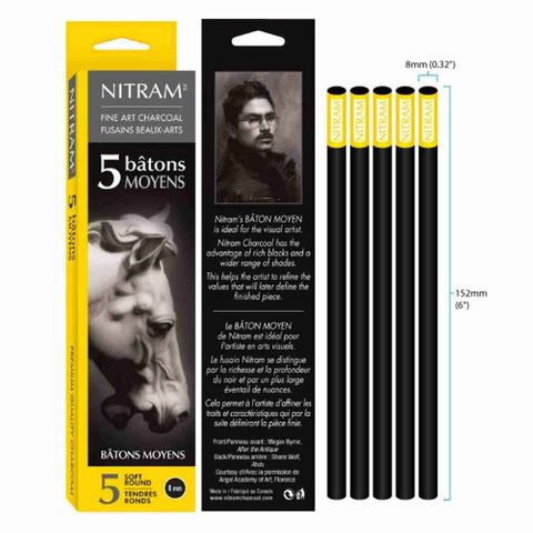 Nitram Batons Moyens Extra Soft Round 8 mm