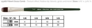 Ruby Satin Filbert Grass Comb Size 1/8''