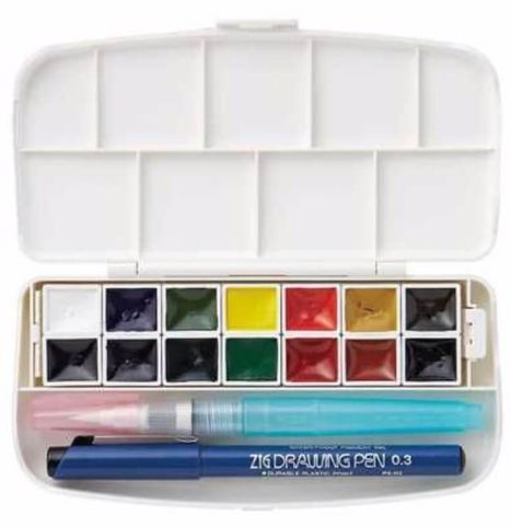 Zig Watercolour TRANSPARENT Box Set 14 Colours