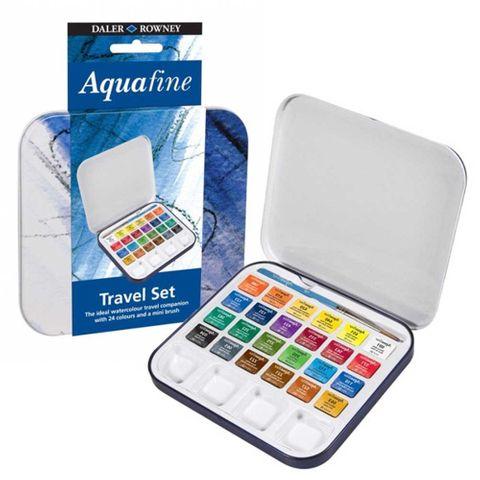Daler Rowney Aquafine Travel Tin Set of 24 + Brush