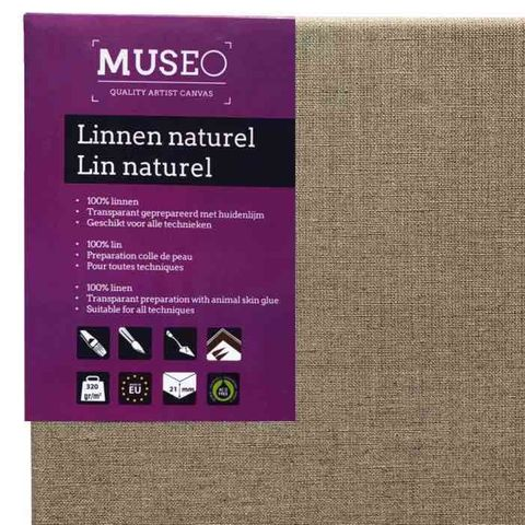 MUSEO Clear primed Linen on stretcher 21mm x6 Pack