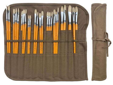 Artist Brush Wrap Case Holding 24 Brushes