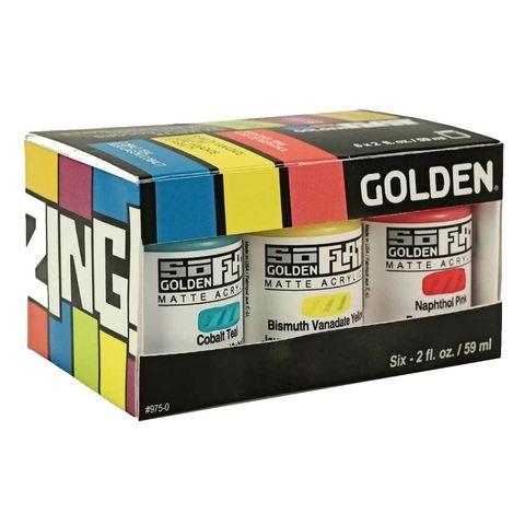 Golden SoFlat Matte Acrylics Zing Set