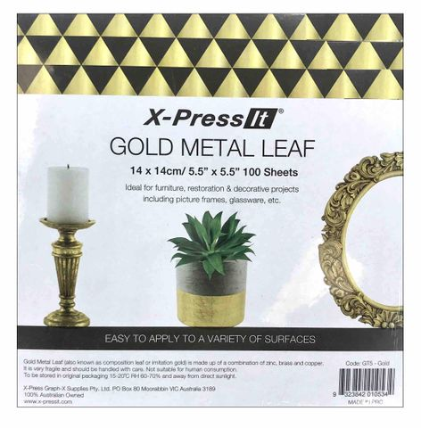 Gold Metal Leaf 100 Sheets Pack