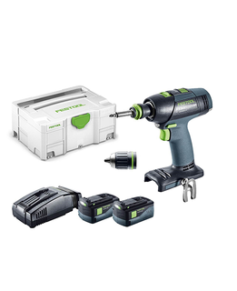 FESTOOL T 18+3 CORDLESS DRILL KIT (INCLUDES 2 3.1Ah BATTERIES & 1 CHARGER)