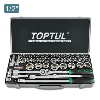 "TOPTUL 43PCS 1/2"" DR. SOCKET SET (METRIC & SAE)"
