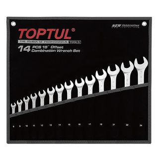 TOPTUL 15° OFFSET STANDARD COMBINATION WRENCH SET - POUCH BAG - BLACK