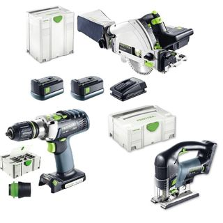FESTOOL PDC DRILL + TSC 55 + PSBC 420 CORDLESS KIT (INCLUDES 2 BATTERIES & 1 CHA