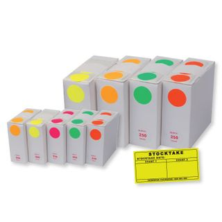 Stocktake Dots Red 25mm (box/250)