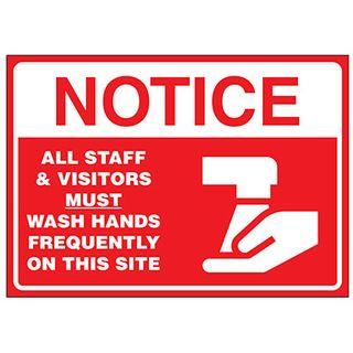 NOTICE/STAFF WASH HANDS Metal Sign 200x300