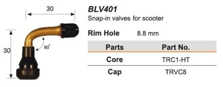 8.8mm rim hole 90' rubber snap in t/l valve