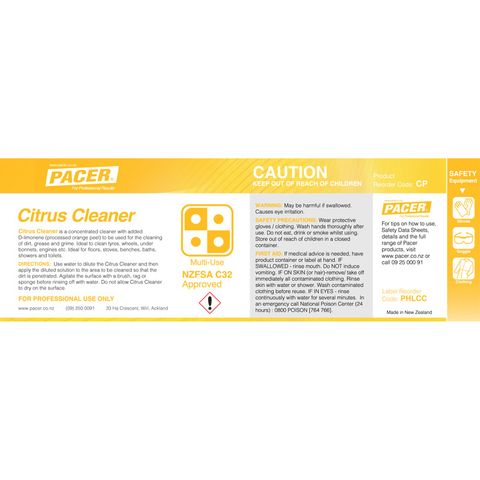 PACER HALF LABEL CITRUS CLEANER