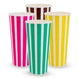 24OZ MILKSHAKE CUPS CANDY STRIPES T/P (SLV)
