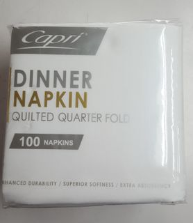 1/4 FOLD DINNER QUILTED WHITE PKT