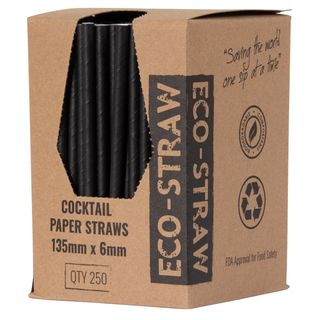 PAPER STRAW COCKTAIL BLACK  10X250