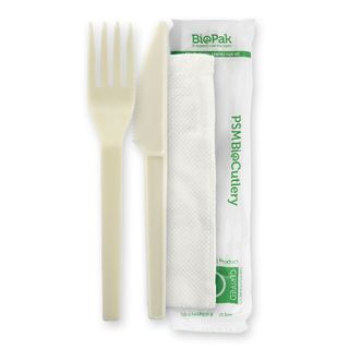 BIO/CPLA CUTLERY PACK  FORK,KNIFE AND NAPKIN