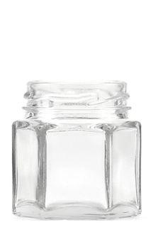 45ML CLR GLASS HEX JAR (RP26)