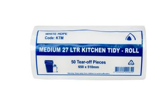 KITCHEN TIDY BAGS MEDIUM WHITE 27LT