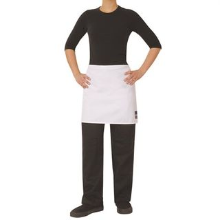 CHEFS WHITE PC 1/2 WAIST APRON NO POCKET