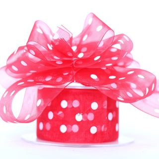 P.BOW SHEER 38mm x 10M RED/WHITE DOT