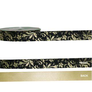 METALLIC DESIGN 25mm x 50M BLACK/GOLD DESIGNS-BUY 1 GET 1 FREE