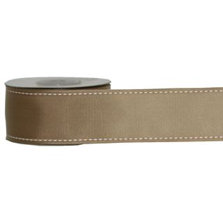 GROSGRAIN STITCHED 38mm x 9M NATURAL (WIRED)