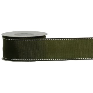 GROSGRAIN STITCHED 38mm x 9M OLIVE (WIRED)
