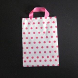 SOFTLOOP BAG MED 360Hx250Wx70Gmm WHITE/PINK DOT (25)-90 MICRONS