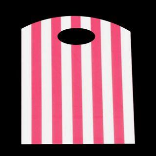 CURVE TOP BAG SML 300(H)x210(W)mm WHITE/PINK STRIPE (100)-70 MIC