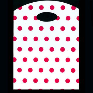 CURVE TOP BAG SML 300(H)x210(W)mm WHITE/PINK DOTS (100)-70 MICRONS
