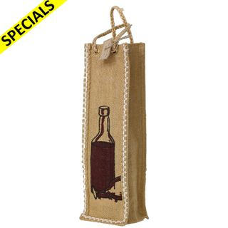JUTE BOTTLE BAG WITH FRONT PANEL PICTURE -BUY1 GET1 FREE
