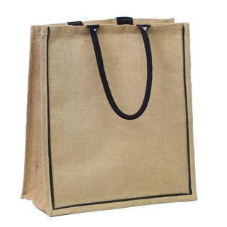 JUTE BAG X.LRG NATURAL/BLK EDGING & BLK HANDLE 43(H)x40(W)x21(G)cm