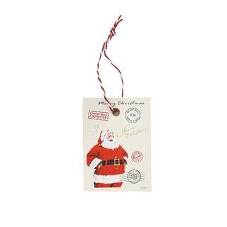 GIFT TAG WHITE CHRISTMAS EXPREE SANTA 12 PER PACK