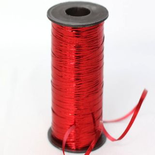 CURLING RIBBON METAL EMBOSSED 5mm x 460M RED