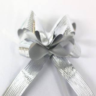 P.BOW METALLIC EMBOSSED 22mm SILVER (100)