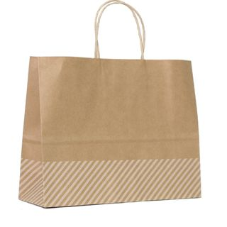 KRAFT BAG BROWN OBLIQUE STRIPE WHITE LRG 25Hx32Wx11GCM  PACK OF 10