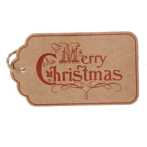 GIFT TAG BROWN MERRY CHRISTMAS ON RED (B) 12 PER PACK