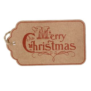 GIFT TAG BROWN MERRY CHRISTMAS (B) 12 PER PACK